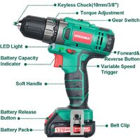 Cordless Drill 12V, HYCHIKA Electric Drill 30N·m Max Torque with 1500mAh Li-Ion Battery, 1H Fast Charging, 4PCS Flat Drills, 6PCS Twist Drills, 6PCS Screwdriver Bits, 5PCS Sockets, Carrying Bag