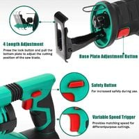 Reciprocating Saw, HYCHIKA 18V Cordless Saw with 2x2000mAh Batteries, 0-2800rpm Variable Speed Electric Saw, 4 PCS Saw Blades, 1 Hour Fast Charger, LED Light, Ideal for Wood and Metal Cutting