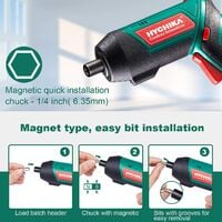 Electric Screwdriver, 6N·m and 2000mAh HYCHIKA 3.6V Cordless Screwdriver with 20 Accessories, Work Light, Charger and Magnetic Chuck