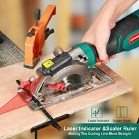 Circular Saw, HYCHIKA 750W 3500RPM Mini Circular Saw with Laser Guide & Parallel, 6 Blades, Cutting Depth 0-48mm, Compact Circular Saw for Cutting Wood, PVC Pipe, Plastic, Soft Metal