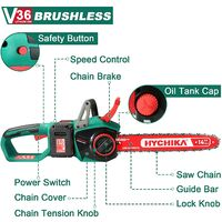 """Cordless Chainsaw 36V, HYCHIKA 8000RPM Brushless Electric Chain Saw with 14"""" Cutting Bar, 2Pcs 4.0A Batteries, Tool-Free Chain Tensioning & Auto Chain Lubrication, Wood Saw Garden Tool for Cutting"""
