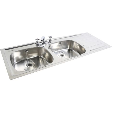 N.S.S - PLAND Double Bowl Single Drainer 2 Tap Hole RHD