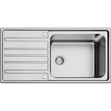 N.S.S - Superdeep single bowl stainless steel sink 1 tap hole 1000mm - Brushed Steel