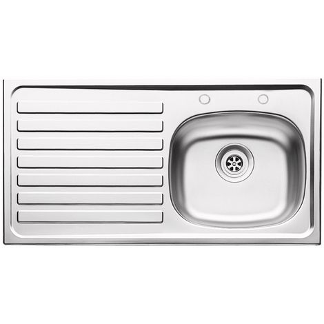 """N.S.S - 940mm Inset (37"""") Stainless Steel Sink 2 Tap Hole LH Drainer"""