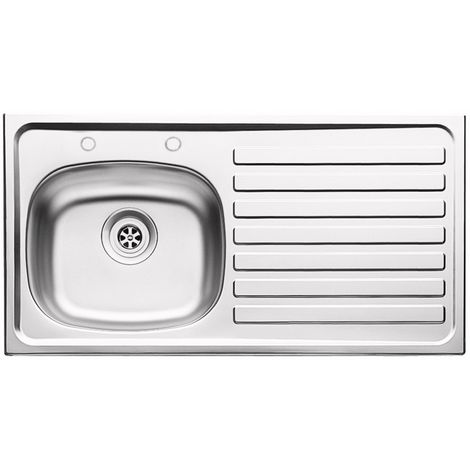 """N.S.S - 940mm Inset (37"""") Stainless Steel Sink 2 Tap Hole RH Drainer"""