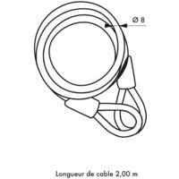 THIRARD - Thirard - Câble diamètre 8 longeur 2,00 m