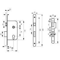 THIRARD - Boîtier serrure axe à 50 mm, coffre épaisseur 10 mm à cylindre v/br