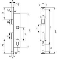 THIRARD - Boîtier serrure à cylindre panneton réduit axe 16,5 l 28mm e70 réversible