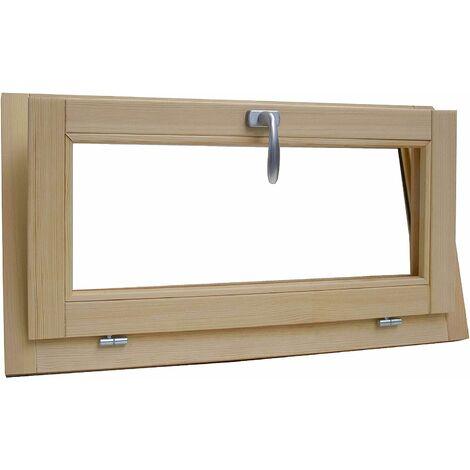 Fenêtre en bois lamellaire brut de pin 100 x 60 cm double verre thermique avec gaz argon