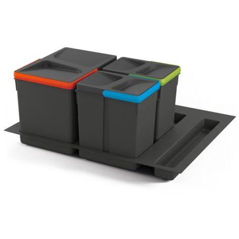 Emuca Kit de poubelles, 12 L + 6 L + 6 L, module 600 mm, Plastique, Gris anthracite, 3 ut. + Base - talla