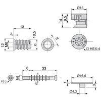 Emuca Excentrique + goujon et écrou M6, D. 15 mm, panneau 19 mm, Zamak et acier, Blanc, 20 ut. - talla