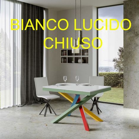 Tavolo Allungabile Volantis Evolution Multicolor 2 Con Struttura In Metallo E Piano In Legno Finiture Laccato