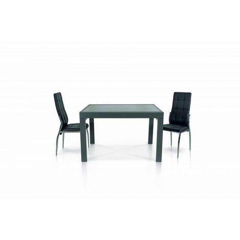 Tavolo In Vetro E Metallo Di Colore Grigio Allungabile 120x90 Cm 240x90 Cm