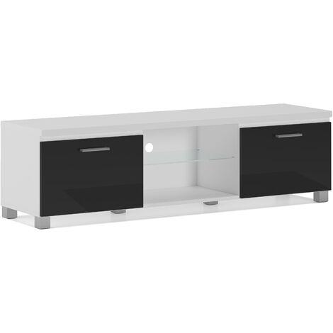 TV mobile LED - porta TV, soggiorno, bianco mate e nero ...