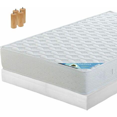 MALDIVES - Pack Matelas + Tapissier 130x190 + Pieds