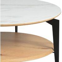 TASHA - Table Basse Ronde Métal et Céramique