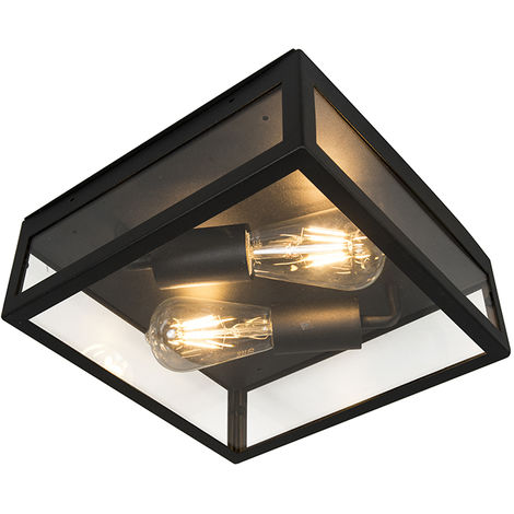 Industrial Square Ceiling Lamp 2 Black IP23 - Rotterdam