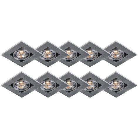 Set of 10 modern recessed spotlights aluminum 3 mm thick - Qure