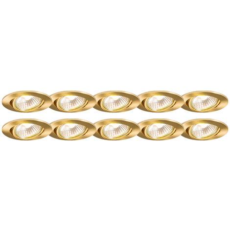 Set of 10 Recessed Spotlight Gold - Cisco