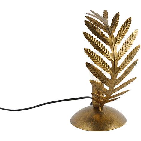 Vintage Table Lamp Small Leaf Gold - Botanica