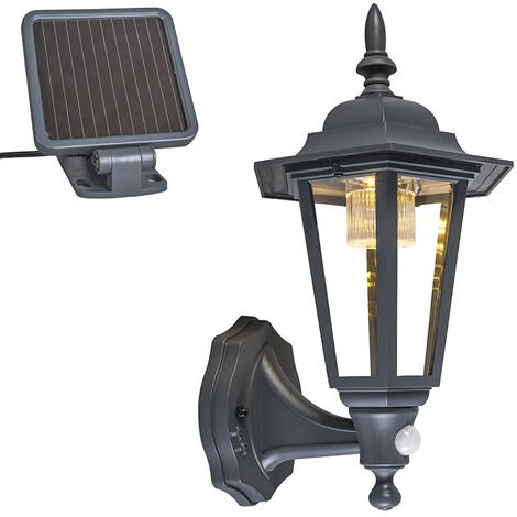 Outdoor wall lantern anthracite incl. LED and solar - New York