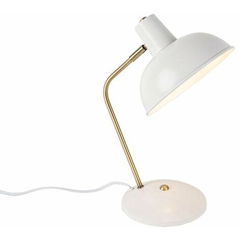 Retro table lamp white with bronze - Milou
