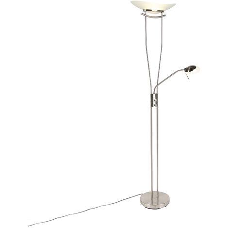 Modern floor lamp steel incl. LED and dimmer - Lexus