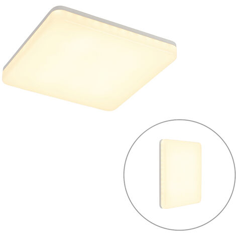 Ceiling lamp white square incl. LED and motion detector - Plater