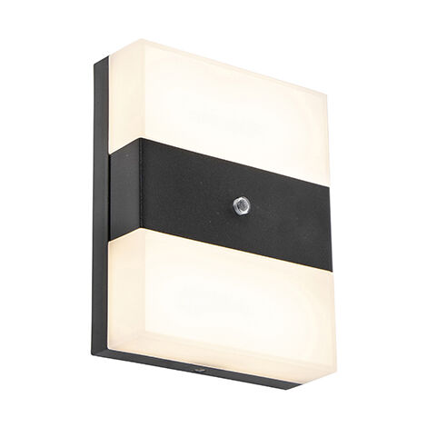 Exterior wall light black IP44 incl. LED with light-dark sensor - Dualy