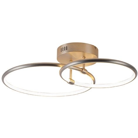 Design ceiling lamp steel incl. LED 3-step dimmable 2-light - Joaniqa
