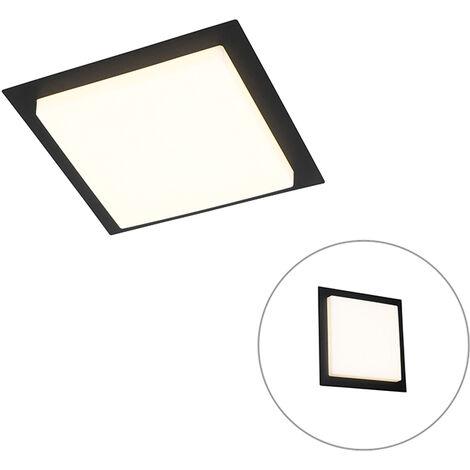Modern ceiling lamp black square incl. LED IP44 - Lys