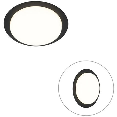 Modern ceiling lamp black round incl. LED IP44 - Lys