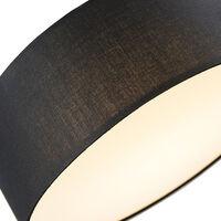 Ceiling lamp black 30 cm incl. LED - Drum LED