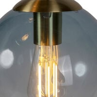 Art deco hanging lamp brass with blue glass - Pallon
