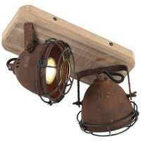 Industrial spot rust brown with wood tiltable 2-light - Gina