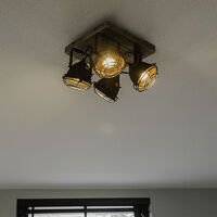 Industrial spot rust brown with wood tiltable 4-light - Gina