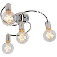 Art Deco Ceiling Lamp 4 Chrome - Facil