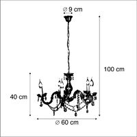 Chandelier transparent with gold 5 lights - Marie Theresa