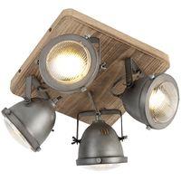 Industrial spot steel with wood tiltable 4-light - Emado