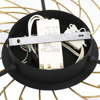 Design ceiling lamp black with gold 3-step dimmable - Spaak