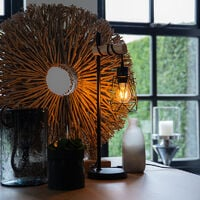Country table lamp black with wood - Dami Frame