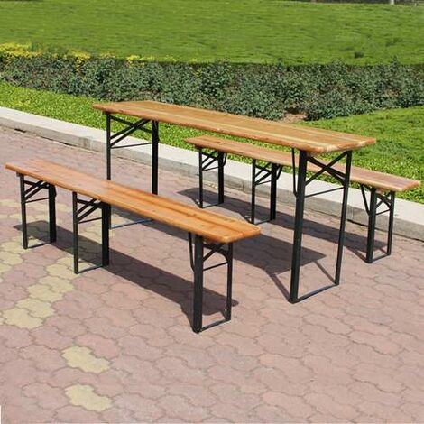 BIRCHTREE Wooden Folding Beer Table Bench Set Trestle