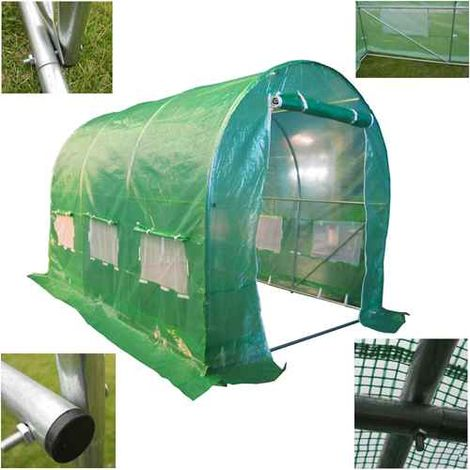BIRCHTREE 3M (L) x 2M (W) x 2M (H) Polytunnel Greenhouse Pollytunnel Galvanised 25mm Frame