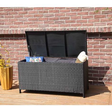 BIRCHTREE Garden Rattan Storage Box RSB01 Black
