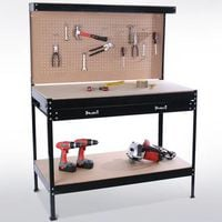 SwitZer Steel Garage Workbench With Drawers Pegboard Black
