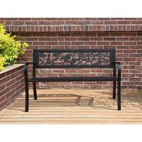 BIRCHTREE Garden Bench Steel Rose Style C074 Black