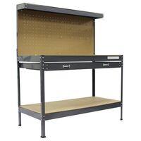 SwitZer Steel Garage Workbench With Drawers Pegboard Grey