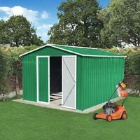 BIRCHTREE Garden Shed Metal Apex Roof 10FT X 8FT Green