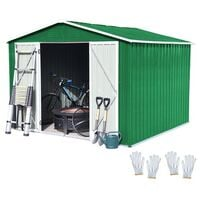 BIRCHTREE Garden Shed Metal Apex Roof 8FT X 6FT Green