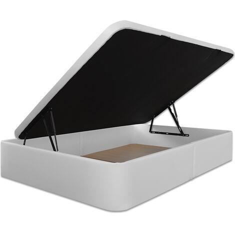 Ventadecolchones - Canape Serena Apertura Lateral Tapa en 3D Tapizado en Polipiel Blanco medida 90 x 190 cm